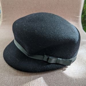 🆕 wool news cap with bow ribbon trim